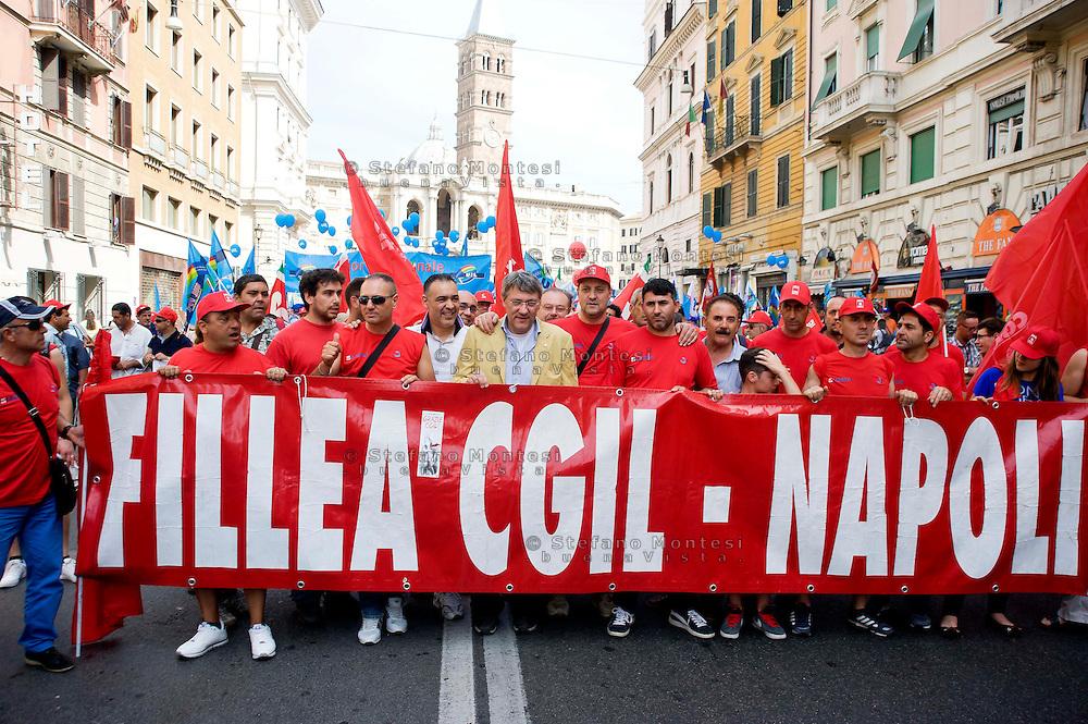 Roma, 22 Giugno 2013<br /> Lavoro è Democrazia. Manifestazione di CGIL, CISL e UIL. Maurizio Landini  Segretario nazionale della FIOM<br /> Demonstration by trade unions in Rome