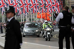 29 April 2011. London, England..Royal wedding day. Heavy police presence surrounds  Westminster Abbey as dignitaries begin to arrive..Photo; Charlie Varley.