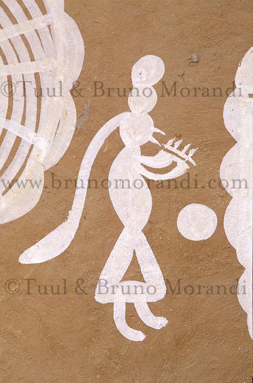 Inde - Rajasthan - Village des environs de Tonk - Peinture murale representant un  berger jouant de la flute