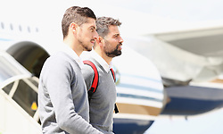 BASEL, SWITZERLAND - MAY 17: Sevilla's Escudero and Coke arrive at Basel Airport ahead of the UEFA Europa League Final against Liverpool. (Pic by UEFA/Pool/Propaganda)