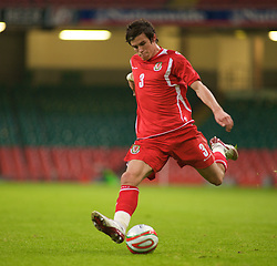 CARDIFF, WALES - Saturday, October 11, 2008: Wales' Gareth Bale in action against Liechtenstein during the 2010 FIFA World Cup South Africa Qualifying Group 4 match at the Millennium Stadium. (Photo by Gareth Davies/Propaganda)