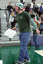 21 February 2015:  pep band conductor with helmet during an NCAA women's division 3 CCIW basketball game between the Elmhurst Bluejays and the Illinois Wesleyan Titans in Shirk Center, Bloomington IL