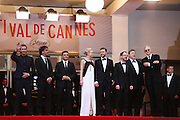 L-R) Actor Garrett Hedlund, director Joel Coen, actor Oscar Isaac, actress Carey Mulligan, actor Justin Timberlake, director Ethan Coen, actor John Goodman and musician T-Bone Burnett attend the 'Inside Llewyn Davis' Red Carpet during the 66th Annual Cannes Film Festival at the Palais des Festivals on May 19, 2013 in Cannes, France.