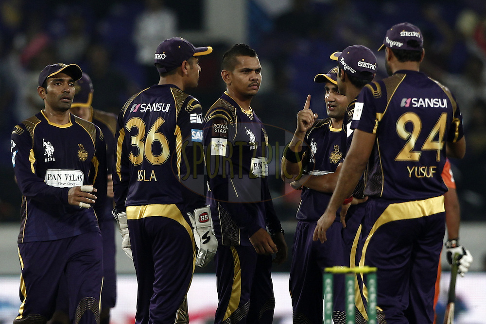 Gautam Gambhir , Sunil Narine of the Kolkata Knight Riders celebrates the wicket of Umar Siddique of the LAHORE LIONS during match 7 of the Oppo Champions League Twenty20 between the Kolkata Knight Riders and the Lahore Lions held at the Rajiv Gandhi Cricket Stadium, Hyderabad, India on the 21st September 2014<br /> <br /> Photo by:  Deepak Malik / Sportzpics/ CLT20<br /> <br /> <br /> Image use is subject to the terms and conditions as laid out by the BCCI/ CLT20.  The terms and conditions can be downloaded here:<br /> <br /> http://sportzpics.photoshelter.com/gallery/CLT20-Image-Terms-and-Conditions-2014/G0000IfNJn535VPU/C0000QhhKadWcjYs