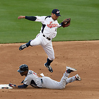 22 March 2009:  #1 Jimmy Rollins of the USA steals second base under #8 Akinori Iwamura of Japan during the 2009 World Baseball Classic semifinal game at Dodger Stadium in Los Angeles, California, USA. Japan wins 9-4 over Team USA.