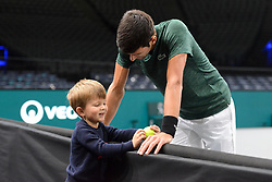 October 28, 2018 - Paris, France - NOVAK DJOKOVIC of Serbia with his son STEFAN DJOKOVIC during a practice session prior to the Rolex Paris Masters tennis tournament in Paris France. (Credit Image: © Christopher Levy/ZUMA Wire)