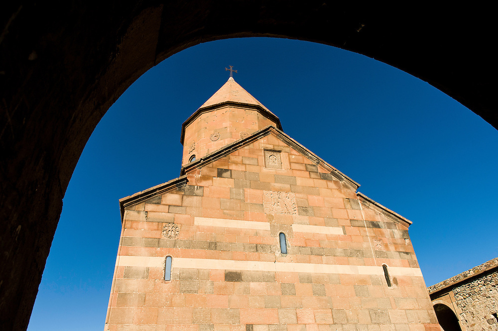 """The Khor Virap, meaning deep pit or """"deep well"""" is an Armenian Apostolic Church monastery located in the Ararat valley in Armenia, near the border with Turkey, about 8 kilometres south of Artashat, Ararat Province. The monastery was host to a theological seminary and was the residence of Armenian Catholicos."""