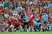 The scrum buckles during action from the Super 15 Rugby Union match played between the Queensland Reds and the NSW Waratahs at Suncorp Stadium (Brisbane, Australia) on Saturday 23rd April 2011<br /> <br /> Conditions of Use : NO AGENTS ~ This image is intended for Editorial use only (news or commentary, print or electronic) - Required Images Credit &quot;Steven Hight - Aura Images&quot;