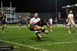 Ken Pisi of Northampton Saints scores a try in the corner - Photo mandatory by-line: Patrick Khachfe/JMP - Mobile: 07966 386802 13/12/2014 - SPORT - RUGBY UNION - Northampton - Franklin's Gardens - Northampton Saints v Treviso - European Rugby Champions Cup
