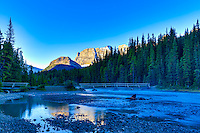 The Mistaya River from Upper to Lower Waterfowl Lake at Sunrise<br /> <br /> &copy;2015, Sean Phillips<br /> http://www.RiverwoodPhotography.com