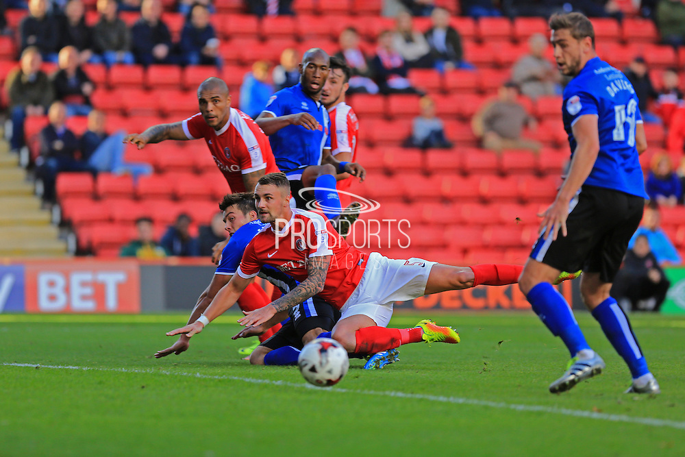 Niall Canavan chance Patrick Bauer during the EFL Sky Bet League 1 match between Charlton Athletic and Rochdale at The Valley, London, England on 1 October 2016. Photo by Daniel Youngs.