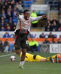 Liverpool's Daniel Sturridge celebrates.  - Photo mandatory by-line: Alex James/JMP - Mobile: 07966 386802 22/03/2014 - SPORT - FOOTBALL - Cardiff - Cardiff City Stadium - Cardiff City v Liverpool - Barclays Premier League2