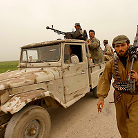 ABUSHITA, NORTHERN IRAQ - April 6:  <br /> Kurdish Peshmergas and US Special forces are advancing from Erbil towards the road between Kirkuk and Mossul. The Northern Iraqi Lines are collapsing.   (Photo Patrick Barth/Getty Images)