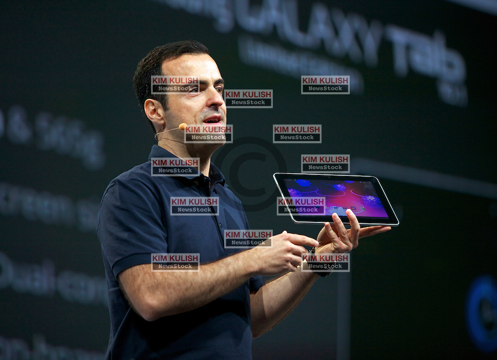 Hugo Barra, product management director for Google Inc., shows off the new Samsung Android tablet during a keynote address at the Google I/O conference in San Francisco, California.