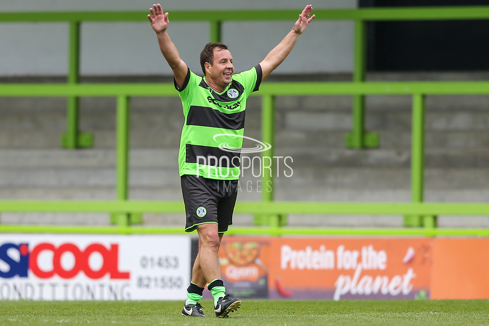 Forest Green Legends Paul Hunt scores a goal 1-0 and celebrates during the Trevor Horsley Memorial Match held at the New Lawn, Forest Green, United Kingdom on 19 May 2019.