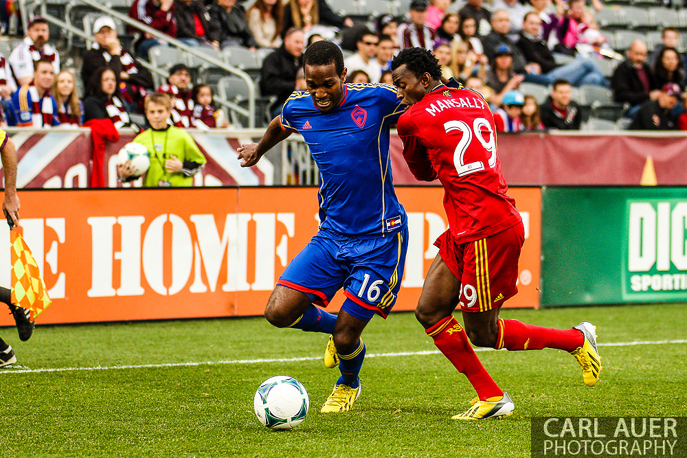 April 6th, 2013 - Colorado Rapids midfielder Atiba Harris (16) attempts to get past Real Salt Lake defender Abdoulie Mansally (29) in the first half of the MLS match between Real Salt Lake and the Colorado Rapids at Dick's Sporting Goods Park in Commerce City, CO