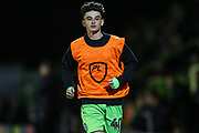 Forest Green Rovers Dan Jones(40) warming up during the Leasing.com EFL Trophy match between Forest Green Rovers and Coventry City at the New Lawn, Forest Green, United Kingdom on 8 October 2019.