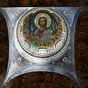 Christ Pantocrator inside the dome of Church of the Savior on the Blood, a Russian-style church was built on the spot where Emperor Alexander II was assassinated in Saint Petersburg on March 1881. <br /> <br /> Photography by Jose More