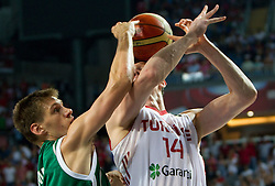 Gasper Vidmar of Slovenia vs Omer Asik of Turkey during the quarter-final basketball match between National teams of Turkey and Slovenia at 2010 FIBA World Championships on September 8, 2010 at the Sinan Erdem Dome in Istanbul, Turkey.  (Photo By Vid Ponikvar / Sportida.com)