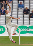 Tom Milnes (Warwickshire County Cricket Club) in bowling action during the LV County Championship Div 1 match between Durham County Cricket Club and Warwickshire County Cricket Club at the Emirates Durham ICG Ground, Chester-le-Street, United Kingdom on 14 July 2015. Photo by George Ledger.