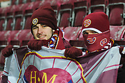 Early fans are well wrapped up for the Ladbrokes Scottish Premiership match between Heart of Midlothian and Kilmarnock at Tynecastle Stadium, Gorgie, Scotland on 27 February 2018. Picture by Kevin Murray.