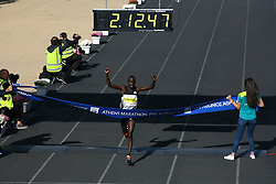November 13, 2016 - Athens, Greece - Winner of the Athens Marathon the Authentic was Luka Rotich Lobuwam from Kenya..50.000 long range runners take part in the 42 killometers long Athens Marathon the Authentic in Greece starting from the City of Marathona and ending at Kalimarmaro Stadium in Athens. (Credit Image: © George Panagakis/Pacific Press via ZUMA Wire)