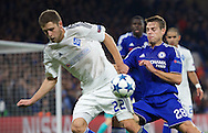 Artem Kravets of Dynamo Kyiv and Cesar Azpilicueta of Chelsea during the UEFA Champions League match at Stamford Bridge, London<br /> Picture by Alan Stanford/Focus Images Ltd +44 7915 056117<br /> 04/11/2015