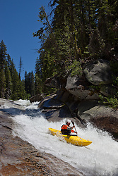 """Kayaker on Silver Creek 4"" - This kayaker was photographed on Silver Creek - South Fork, near Icehouse Reservoir, CA."