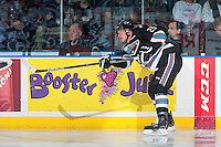 KELOWNA, CANADA - NOVEMBER 20: Cal Foote #25 of Kelowna Rockets makes a pass against the Edmonton Oil Kings on November 20, 2015 at Prospera Place in Kelowna, British Columbia, Canada.  (Photo by Marissa Baecker/ShoottheBreeze)  *** Local Caption *** Cal Foote;