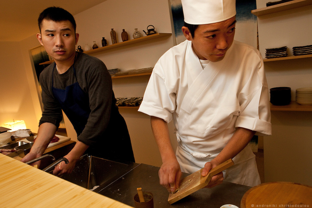 Koji Nakamura who will be teaching at the Sushi Academy in London (R) and assistant chef (L) while preparing to open the Kanda restaurant.