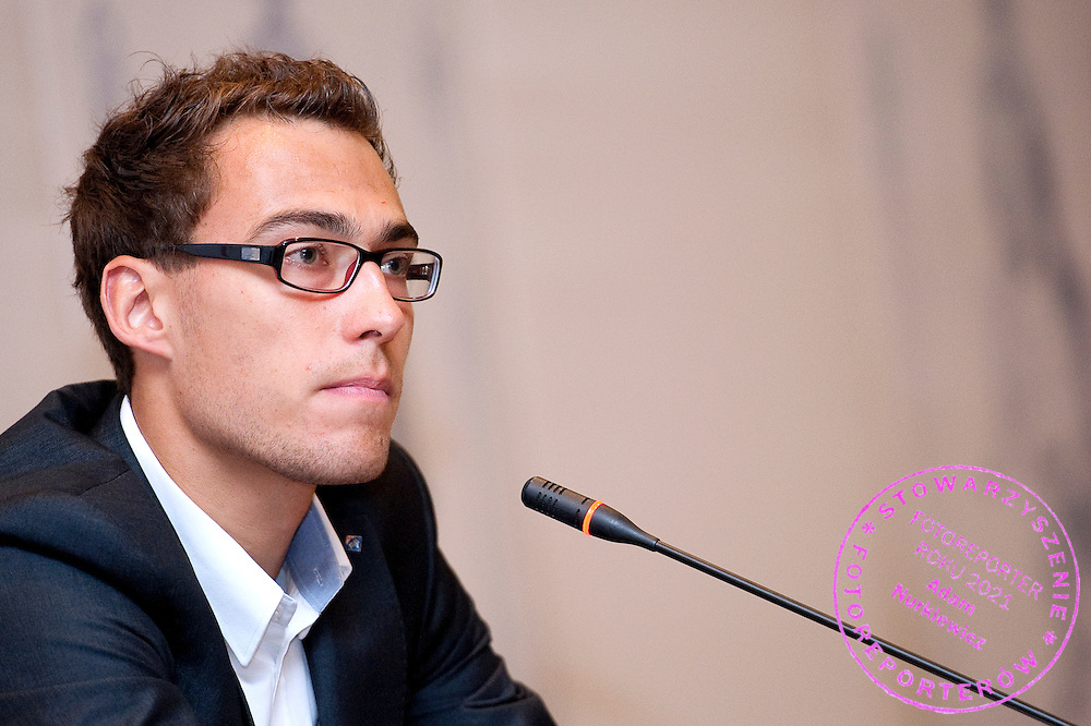 Jerzy Janowicz during press conference of Polish Tennis Association at Hyatt Hotel in Warsaw, Poland.<br /> <br /> Poland, Warsaw, July 08, 2013<br /> <br /> Picture also available in RAW (NEF) or TIFF format on special request.<br /> <br /> For editorial use only. Any commercial or promotional use requires permission.<br /> <br /> Photo by © Adam Nurkiewicz / Mediasport