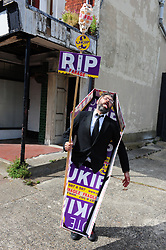 &copy; Licensed to London News Pictures. 03/06/2017<br /> Labour protester outside Townley Hall.<br /> Nigel Farage speaking at a UKIP public meeting in Ramsgate,Kent at Townley Hall in support of UKIP Thanet candidate REV Stuart Piper.<br /> Photo credit: Grant Falvey/LNP