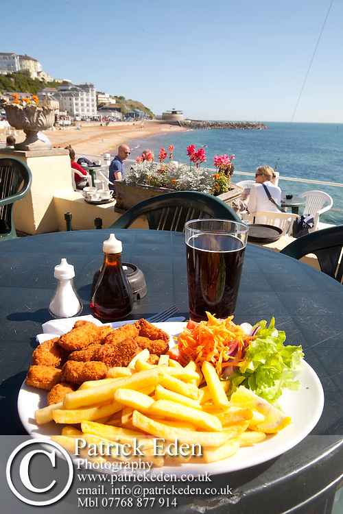 Scampi, Salad, Chips, Spyglass Inn, Pub, seafront, beach, Ventnor, Isle of Wight, England, UK, photography photograph canvas canvases