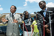 Rev. Ronald Wright speaks during a press conference outside the McKinney Police Headquarters in McKinney, Texas on June 8, 2015.  (Cooper Neill for The New York Times)