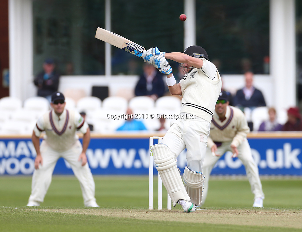 Neil Wagner is struck on the helmet by a Craig Overton delivery during the four day game between Somerset and a New Zealand XI at the County Ground, Taunton. Photo: Graham Morris/www.cricketpix.com (Tel: +44 (0)20 8969 4192; Email: graham@cricketpix.com) 09052015