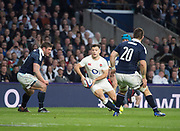 Twickenham, United Kingdom.  Danny CARE, looking for the gap between [L] John BARKLEY and Cornell du PREEZ, during the Six Nations International Rugby, Calcutta Cup Game, England vs Scotland, RFU Stadium, Twickenham, England, <br />