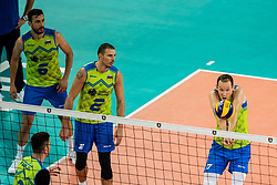 Urnaut Tine #17 (SLO) and Pajenk Alen #2 (SLO), Gasparini Mitja #6 (SLO) during volleyball match between National teams of Slovenia and Finland in 2nd Round in Group C of 2019 CEV Volleyball Men's European Championship in Ljubljana, on September 14, 2019 in Arena Stozice. Ljubljana, Slovenia. Photo by Grega Valancic / Sportida