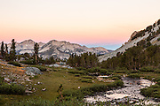 Sunrise on Silver Peak as seen from Duck Lake in the John Muir Wilderness.