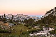 Sunrise on Silver Peak as seen from Duck Lake in the John Muir Wilderness.