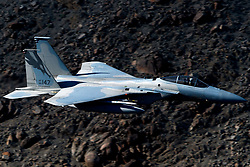 United States Air Force McDonnell-Douglas F-15C Eagle (86-147) from the 144th Fighter Wing, California Air National Guard Jedi Transition Star Wars Canyon, Death Valley National Park, California, United States of America