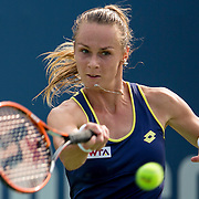 August 21, 2014, New Haven, CT:<br /> Magdalena Rybarikova hits a forehand during a match against Alison Riske on day seven of the 2014 Connecticut Open at the Yale University Tennis Center in New Haven, Connecticut Thursday, August 21, 2014.<br /> (Photo by Billie Weiss/Connecticut Open)