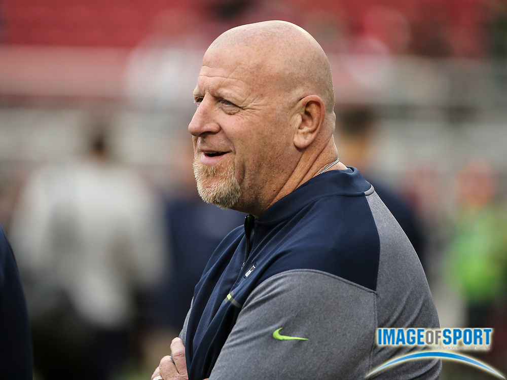 Nov 26, 2017; Santa Clara, CA, USA; Seattle Seahawks assistant head coach Tom Cable prior to game against the San Francisco 49ers at Levi's Stadium.