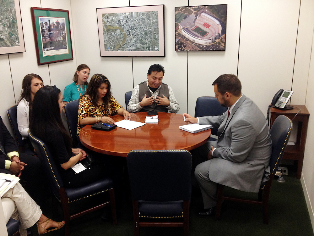 Photo by Matt Roth<br /> <br /> Participants in the Farmworker Fly In event meet with John Crown, right, Legislative Assistant in Senator Sherrod Brown's office in the Hart Senate Office Building in event in Washington, D.C. on Tuesday, July 16, 2013. Participants are (L-R) Ohio constituent Myra Vargas, Allie Eisen, Earthjustice intern, Ohio constituent Leticia Vargas, Farmworker Justice Migrant Health Policy Analyst Alexis Guild, and Ohio Constituent, and Mario Vargas, a farmworker organizer.