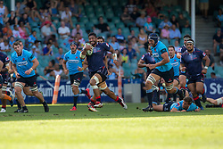 March 17, 2018 - Sydney, NSW, U.S. - SYDNEY, NSW - MARCH 18: Rebels player Amanaki Mafi (8) breaks through the Waratahs defence at round 5 of the Super Rugby between Waratahs and Rebels at Allianz Stadium in Sydney on March 18, 2018. (Photo by Speed Media/Icon Sportswire) (Credit Image: © Speed Media/Icon SMI via ZUMA Press)