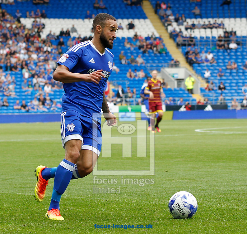 Jazz Richards of Cardiff City during the Sky Bet Championship match at the Cardiff City Stadium, Cardiff<br /> Picture by Mike Griffiths/Focus Images Ltd +44 7766 223933<br /> 14/08/2016