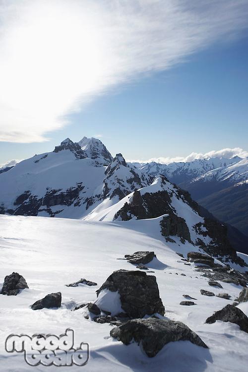 Snow on mountain peak