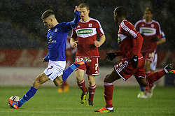 Leicester Midfielder Ben Marshall (ENG) strikes the ball during the first half of the match - Photo mandatory by-line: Rogan Thomson/JMP - Tel: Mobile: 07966 386802 18/01/2013 - SPORT - FOOTBALL - King Power Stadium - Leicester. Leicester City v Middlesbrough - npower Championship.