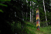 Frankenwald, the old border marks of DDR (Eastern German Democratic Republic in the earth of the forest near the village of Probstzella in Turingia