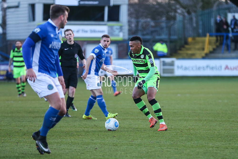 Forest Green Rovers Keanu Marsh-Brown(7) on the ball during the FA Trophy match between Macclesfield Town and Forest Green Rovers at Moss Rose, Macclesfield, United Kingdom on 4 February 2017. Photo by Shane Healey.