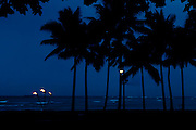Palm trees and tiki torches are silhouetted against the twilight sky in Waikiki, Hawaii